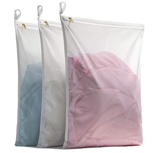 TENRAI Delicates Laundry Bags Bra Fine Mesh Wash Bag for Underwear Lingerie Bra Pantyhose Socks Use YKK Zipper Have Hanger Loops White 3 Large QS
