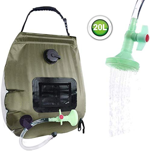 ELECTRFIRE Solar Shower Bag Camping Shower 5 gallons/20L Solar Heating Bag with Removable Hose and On-Off Switchable Shower Head for Outdoor Traveling Hiking
