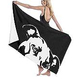 N/A Pit Bull Clipart schwarzes Erwachsenen-Mikrofaser-Strandtuch Oversized 78,7 x 137,1 cm schnell trocknend sehr saugfähig Mehrzweck-Badetuch für Damen und Herren