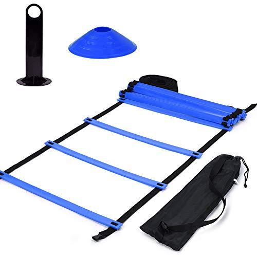 VGEBY1 Kit de Tren Speed Agility, Escalera de Agilidad Plana de 19 pies + 10 Piezas de Conos de Disco para Entrenamiento atlético(Blue)