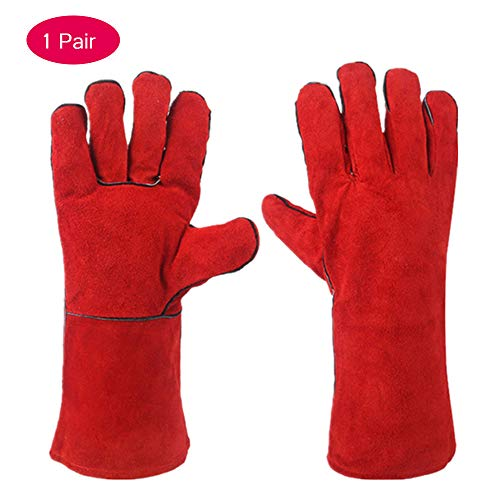 LANGYINH lashandschoenen hittebestendige slijtvaste handschoen perfect voor lassers open haard BBQ tuinieren rooster Animal Handling (one size, rood)