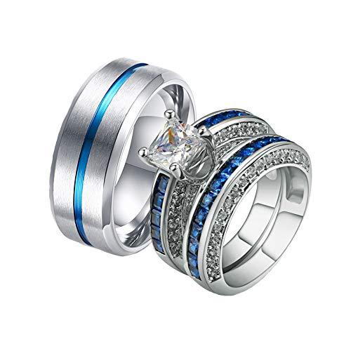 ANAZOZ 2 Stück Damen Herren Verlobungsring Edelstahl Vergoldet 8mm Gebürstet Solitär Diamantring Blau Ringe Eheringe Elegant Silber Blau Damast Eheringe Frau:62 (19.7) & Mann:60 (19.1)