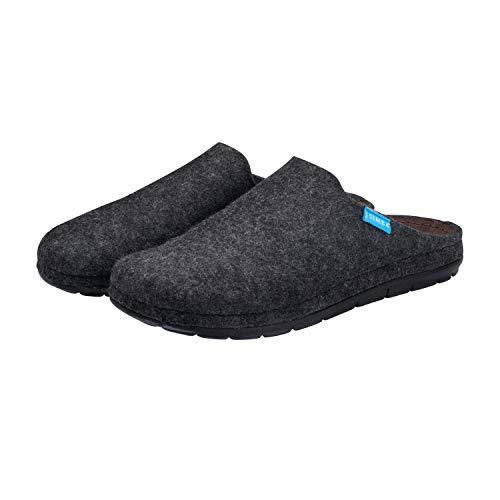 Simba Akupressur-Hausschuhe aus echter Wolle für Herren, Grau, 41   Höchster Komfort   Reflexzonen
