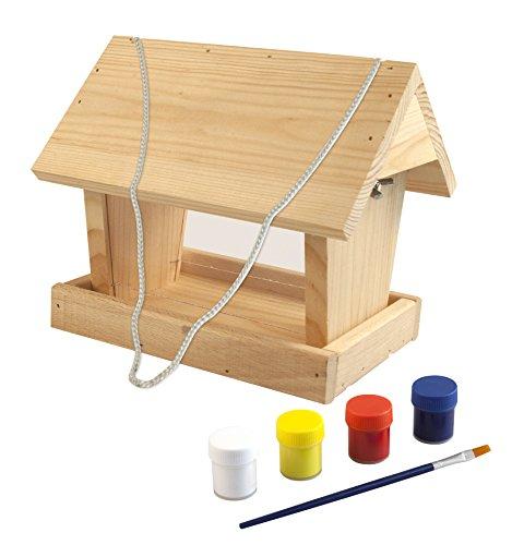 Windhager Vogelfuttersilo-Bausatz WOODPECKER, Vogelhaus Futterstation, inklusive Farbset zum Bemalen, aus Pappel-, Fichten- und Buchenmassivholz, 06945