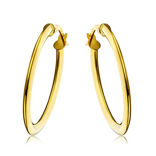 Miore classic oval hoop earrings for women in 18 karat 750 yellow gold 19.5 X 28.5 mm