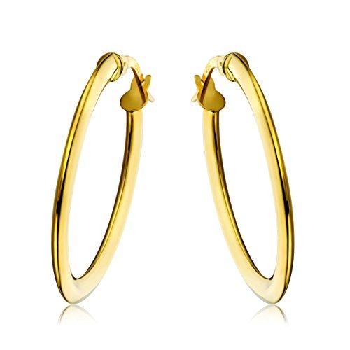 Miore Ohrringe Damen klassische Creolen aus Gelbgold 18 Karat/ 750 Gold, ovale Ohrschmuck 19.5 X 28.5 mm