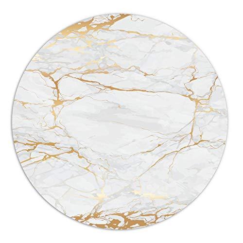 Mauspad Marmor-Optik I Ø 22 cm rund I Mousepad in Gold weiß grau I Standard-Größe, rutschfest I schlicht modern I Stein-Optik Granit I dv_611