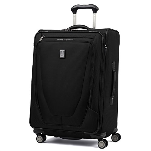 Travelpro Crew 11-Softside Expandable Luggage with Spinner Wheels, Black, Checked-Medium 25-Inch