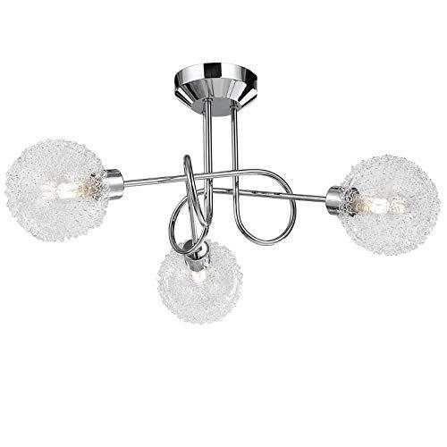 Monzana Lámpara de techo 'Calla' Cromo redonda bolas cubierta con alambre decoración luz interior 3 focos orientables 3W