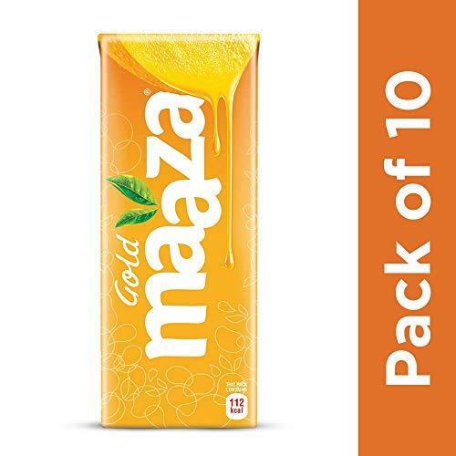Maaza Gold Mango Fruit Drink, 200 ml Tetra Pack (Pack of 10)