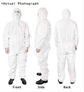 Dreambeauty Disposable Protective Coverall with Hood and Elastic Cuffs White SMS Full Body Isolation Suit Safety Work Gowns Clothing (2XL, 50pcs)