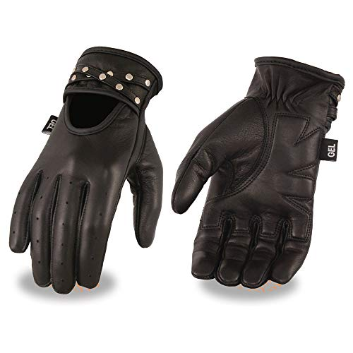 Milwaukee Leather MG7765 Ladies Black Leather Driving Gloves with Gel Palms - X-Small