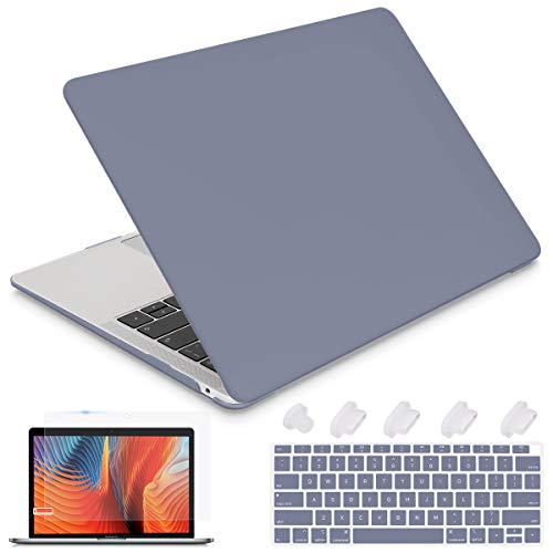 i-King Newest MacBook Air 13 2020 2019 2018 M1 A2337 A1932 A2179 Laptop case,Plastic Smooth Frosted Hard Shell Cover Case for MacBook Air 13 with Retina Display and Touch ID,Lavender Gray