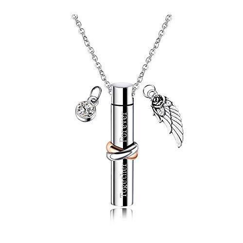 CHICAI Colgante, Collar del Recuerdo de la Antigua Acero Inoxidable de Plata del ala del ángel Memorial urna con Las Cenizas Cenizas Joyería- (Size : A)