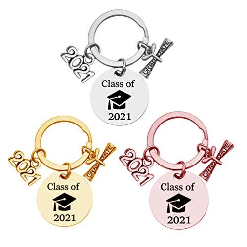 Amosfun 3 llaveros de clase de 2021 Graduation personalizados, creativos, llaveros de recuerdo para la universidad, regalos de graduación