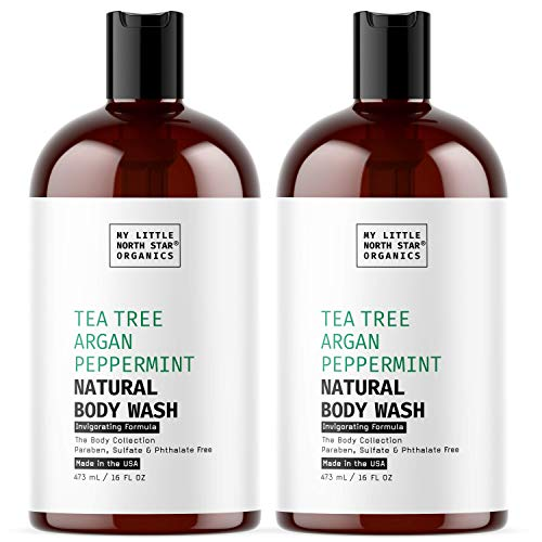 Natural Tea Tree Oil Body Wash with Peppermint - Organic Shower Gel Soap for Man & Women- HUGE 2X16oz- Sulfate Free, Hypoallergenic, Vegan, Cruelty Free, Made in USA