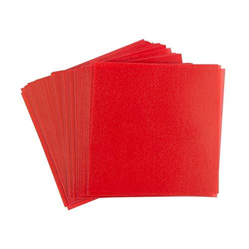 Ideen mit Herz Transparentpapier | 100 Blatt | quadratisch | Premium-Qualität | 110 g/qm | ideales Faltpapier zum Sterne basteln | transparentes Bastelpapier (rot, 10 x 10 cm)
