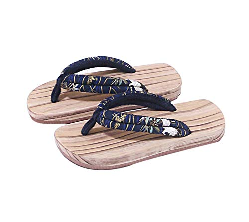 Zoccoli di Legno Giapponesi per Sandali da Uomo Giappone Scarpe Larghe Suola Tradizionali Giapponesi Crane Pattern Geta Antiscivolo