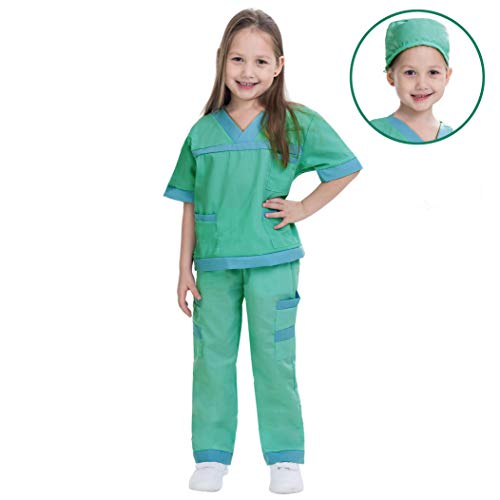 Dr. Scrubs Deluxe Kids Toddler Vet Costume Set in GREEN for Scrub's Pretend Play, Halloween Jr. Doctor Dress Up Party (Medium (8-10yr))
