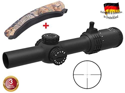 FALKE Zielfernrohr 1-6x24 Jagd mit L4 Absehen, beleuchtet mit 11 Beleuchtungsstufen, verbesserte Modell 2018, Schussfest für alle Kaliber + Schutzhülle