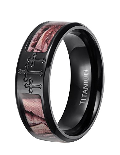 8mm Camo Trees Titanium Ring with Engraved Crosses Hunting Polished Finish Comfort Fit (6)