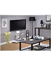 Goldline-UK Height Adjustable TV Stand fit 32''-65 inch Floor TV Bracket with 2 AV Shelf Display for Living Room Bedroom Office (Square Small, White)
