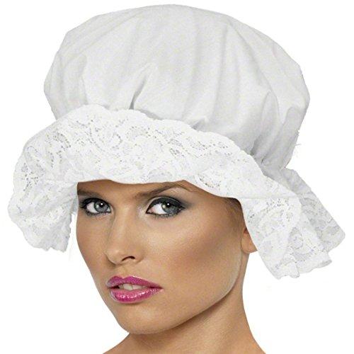 NET TOYS Mittelalter Haube Schlafhaube Weiß Nachthaube Mittelalterliche Haube Magdhaube Bäuerin Magd Hut Kopfbedeckung