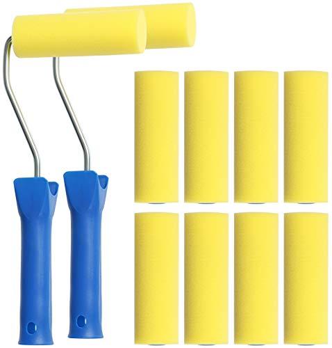 com-four® Juego de Rodillos de Pintura de 12 Piezas - Rodillos de Espuma de Poros Finos para Pintar sobre Superficies Lisas