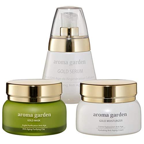 24k Gold Anti-Aging Pflegeset - Maske, Serum & Tagescreme - Erneuert die Haut mit vitamin C,...