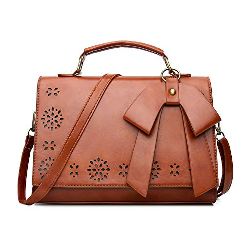 Pahajim Handbag leather small women satchel shoulder bag vintage crossbody messenger bag for evening and party Ladies Small Top Zip Oil Tan Leather Crossbody Handbag Bag