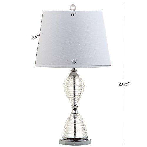 """JONATHAN Y JYL2045A-SET2 Aubrey 24"""" Crystal LED Lamp Transitional,Glam,Traditional,Contemporary for Bedroom, Living Room, Office, College Dorm, Coffee Table, Bookcase, Clear/White"""
