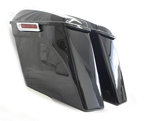 """COMPLETE NO CUT OUT 4.5"""" EXTENDED STRETCHED SADDLEBAGS W/ 6X9 SPEAKER LIDS FOR HARLEY 14-UP (HDB-009-2014-SP)"""