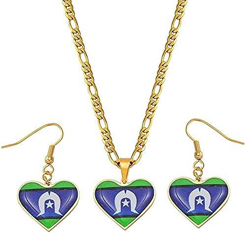 Collar Conjuntos de joyas Collares pendientes Pendientes Mujeres Niñas Joyería de Papúa Guinea Bandera Longitud 60 cm X 3 mm Collar