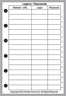 Pocket Size Login Password List, Sized and Punched with 6 Holes for Filofax Pocket Size Notebook