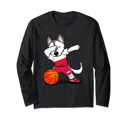 面白いハスキー犬ポーランドバスケットボールファン-ポーランドの旗スポーツ愛好家 Poland Basketball 長袖Tシャツ