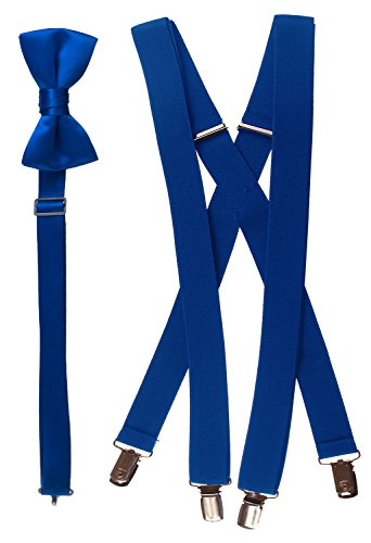 Tuxgear Mens Bow Tie and Suspender Set Combo, Royal Blue, Mens 48 Inch (48