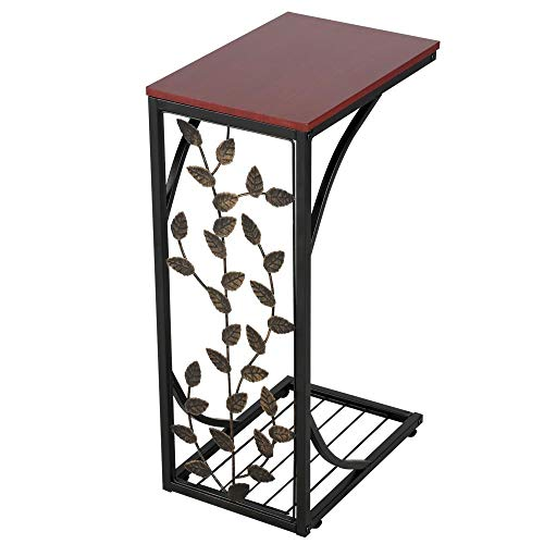 YAHEETECH C-Shaped Sofa Side Snack Table, End Table Elegant Leaf Design for Living Room, Bedroom, and Office