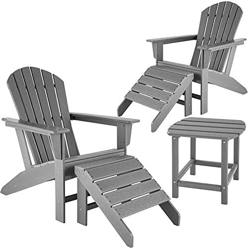 800907 tectake 2 Sedie da giardino Janis con poggiapiedi e tavolino Comodo set da giardino in effetto legno (Grigio)