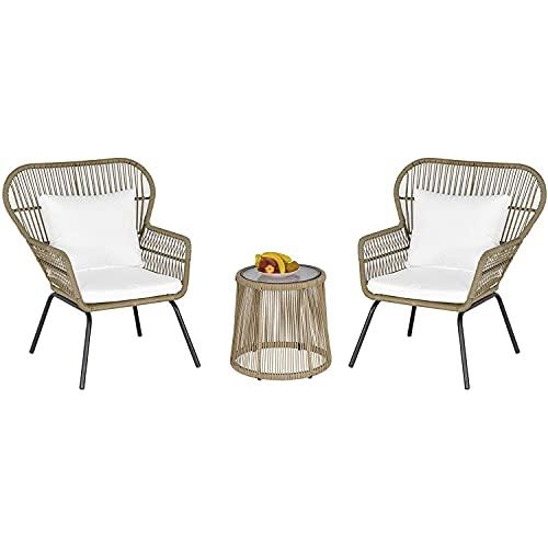 SUN RNPP Set bistrot da Esterno 3 Pezzi, mobili in Vimini Rattan 2 sedie 1 tavolino da caffè con Gambe in Metallo per Giardino, Cortile, terrazza, caffè e Bianco