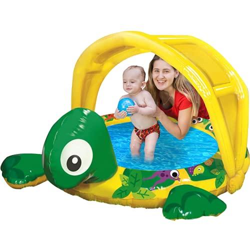 Baby Paddling Pool - Banzai Jr. Small Paddling Pool with shade - Toddlers and Baby paddling pools - Childrens Paddling Pool for toddlers - Baby Pool is the perfect shaded pool