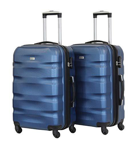 Juego de 2 equipajes medianos 65 cm – ALISTAIR Fly – ABS ultraligeros y resistentes – 4 ruedas – Marca francesa, azul 2 (Azul) - 1507- Mx2 - Bleu-Bleu