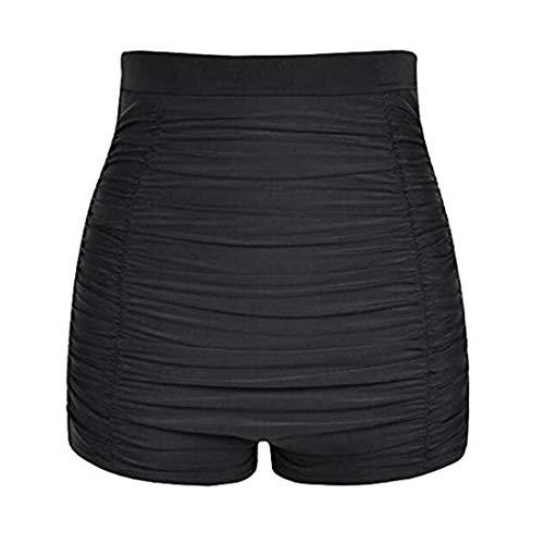 Viloree Damen hohe Taille Bikini Unterteil Badehose Tankinihose Hotpants Bauch Weg Schwarz 3XL
