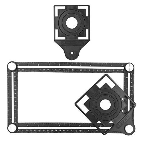 4面角度測定ツール、マルチアングル定規テンプレートツール、穴ロケーター付きユニバーサルアルミニウム合金角度測定定規開口部ロケーター