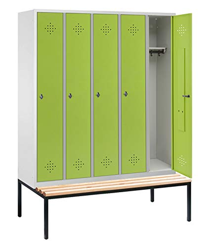 Taquilla/taquilla con 5compartimentos en asiento Banco estructura–2090mm x 1480mm x 815mm–Verde línea de taquilla Max