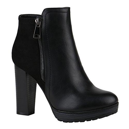 stiefelparadies Damen Schuhe 144351 Stiefeletten SCHWARZ Zipper AUTOL 37 Flandell