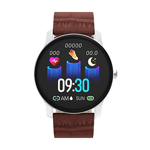 """T90 - Orologio da polso con schermo da 1,3"""", impermeabile, pedometro, monitoraggio del sonno, smart call con monitoraggio della frequenza cardiaca 10X5X2CM marrone"""