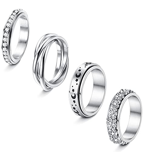 Jstyle 4Pcs Stainless Steel Fidget Band Rings Spinner Rings for Women Anxiety Ring Triple Interlocked Rolling Flower Moon Star Ring Celtic Stress Relieving Reduce Anxiety