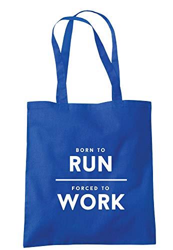 Illutedidentity Sac fourre-tout Born To Run Forced To Work 37,5 x 42 cm avec poignées longues - Bleu - bleu marine, Taille unique