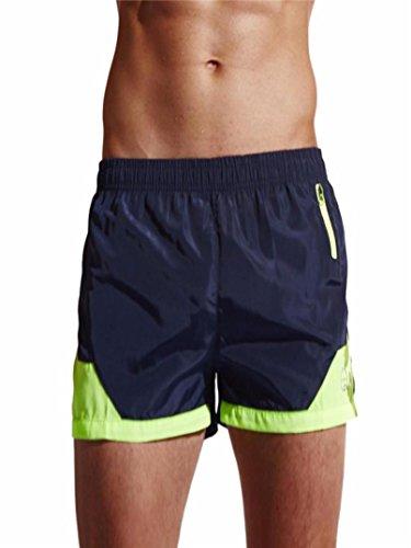 Hot Sale! Ruhiku GW Mens Swim Trunks Swim Shorts Quick Dry Beach Shorts with Pockets for Swimming Bathing Surfing Running (L, Navy)