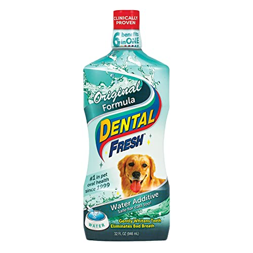 DENTAL FRESH Water Additive for Dogs, Original Formula, 32 oz – Bad Breath Solution for Dogs – Add to Water Bowl to Help Whiten Teeth, Eliminate Bad Breath – Dog Teeth Cleaning to Improve Oral Health,FG00013